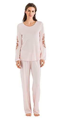 (HANRO Women's Jana Long Sleeve Pajama 76434, Pearl Blush, X-Large)