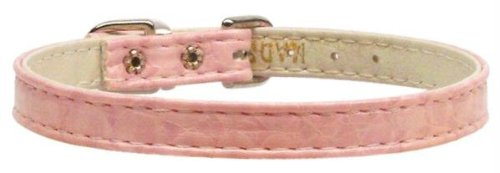 Mirage Pet Products 3/8-Inch Width Faux Snake Skin Plain Collar for Pets, 12-Inch, Pink