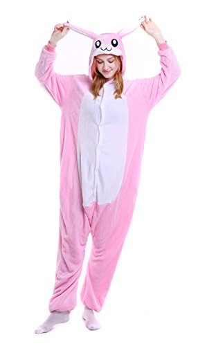 Dingwangyang Uinisex Adult Pajamas Onesie Kigurumi Cosplay Costumes Animal Jumpsuit Pink Rabbit-XL