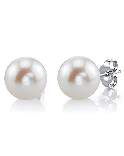 - THE PEARL SOURCE 14K Gold AAAA Quality Round White Freshwater Cultured Pearl Stud Earrings for Women (white-gold, 11.0mm)