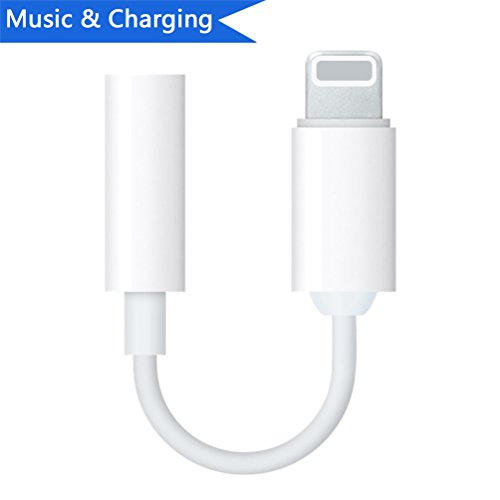Lightning to 3.5mm Headphone Jack Adapter for iPhone 7/7 Plus/X/10/8/8 Plus/iPad iPod Converter 3.5mm Earphone Lightning Adaptor Accessories Support iOS 10.33 /11.2 and Later(White) (Ipad Adapter Headphone)