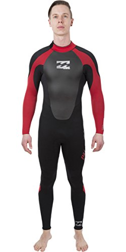 Billabong Intruder 3/2mm GBS Back Zip Wetsuit in Black and Red - Mens - Full Suit for Sailing Surfing Kayaking and - Back Gbs Zip