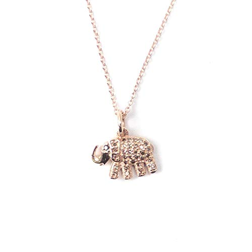 14k Rose Gold, Pavé Diamond, and Sapphire Elephant Charm Necklace - 14,15,16 inches Long Handmade Necklace by Miller Mae Designs