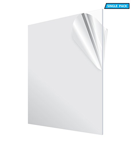 AdirOffice Acrylic Plexiglass Sheet  Transparent Plastic Sheeting - Durable, Water Resistant & Weatherproof - Multipurpose & Ideal For Countless Uses 24x36 1/8'' thick, Clear