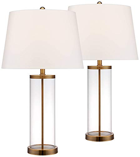 Glass Marble Shade (Coastal Table Lamp Glass Cylinder Gold Fillable White Drum Shade for Living Room Family Bedroom Bedside Nightstand - 360 Lighting)