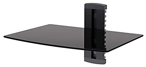 MANZOO Floating Shelves Wall Mounted Shelf with Strengthened Tempered Glass for DVD Players/cable Boxes/games Consoles/Tv Accessories, 1 Shelf, Black Glass Shelf