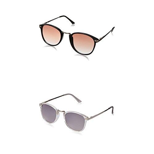 A.J. Morgan Castro Round Sunglasses - Two-Pack (Black & - Sunglasses Amazon Com