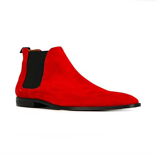 jinfu Chelsea Boots Mens Suede Casual Red Boots Ankle Boots Formal Shoes (US 9.5) Eyg5dRo2M