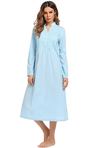 (Ekouaer Womens Cotton Victorian Nightgown Long Sleeve Vintage Sleepwear(White,Floral) (XXL, Light Blue))