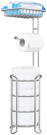 Toilet Paper Holder Stand Bathroom Toilet Tissue Roll Holder with Shelf Freestanding Storage Phone/ Wipe/ Mega Rolls-Shining Chrome