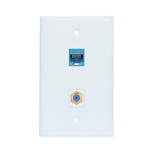 Coax Ethernet Wall Plate Female to Female - Ethernet and Coax Cat6 Wall Plate in White - 1 Ethernet Port + 1 TV Coax Cable/F-Type Connector