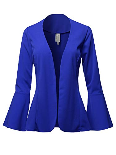 Casual Solid Collarless Bell Sleeve Open Blazer - Made in USA Royal Blue XL