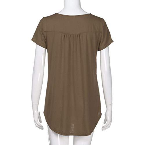 Shirt Corta Maglietta Pieghe Stlie T Casual Irregular Collo Manica Grazioso Estivi Coffee Rotondo Moda Tops di Donna Moda Elegante Camicetta Button Monocromo dwSwz