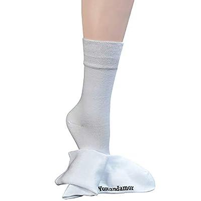 Yomandamor Women's Best Bamboo Seamless Crew Dress Black Socks, 5 Pairs L Size at Women's Clothing store