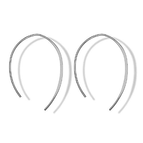 Silver Plated Upside Down Hoops - Hypoallergenic Lightweight Open Wire Needle Drop Dangle Threader Earrings (silver half round earrings)