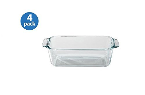 Pyrex Basics 1.5-Quart Loaf Pan, Glass (Set of 4)