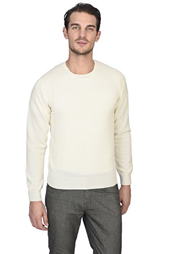 White Cashmere Sweaters (State Cashmere Men's 100% Pure Cashmere Long Sleeve Pullover Crew Neck Sweater (Medium, White))