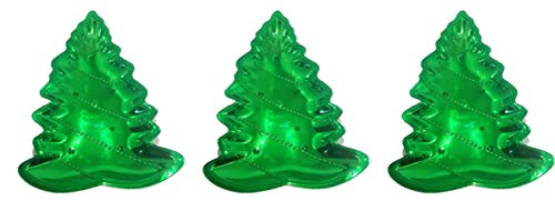 Metallic Christmas Serving Trays - Set of 3 - Green Christmas Tree, Ice Blue Snowflake and Red Candy Dish (Christmas Tree)