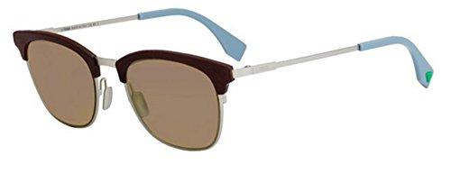 New Fendi QBIC FF 0228/S 4ES/70 Silver Brown/Brown Sunglasses