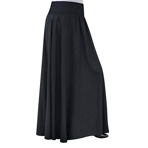 RAINED-Women Elastic Waist Long Skirt Solid Pleat Skirt Vintage Loose Maxi Skirt Casual Flowy Dress Knee Length Skirt Black