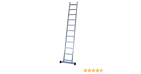 Escalera profesional de aluminio de apoyo simple con barra estabilizadora 11 peldaños serie basic: Amazon.es: Hogar