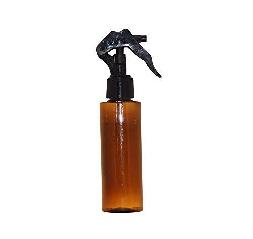 WM (Bulk Pack of 24) - 4 Oz Refillable, Empty Cylinder PET Plastic Bottles w/Black Trigger Spray (Amber-Black) ()