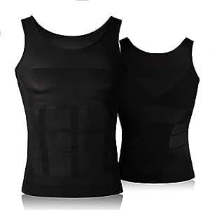 Hoter Mens Slimming Body Shaper Vest Shirt Abs Abdomen Slim (Top Edition)- Black, S
