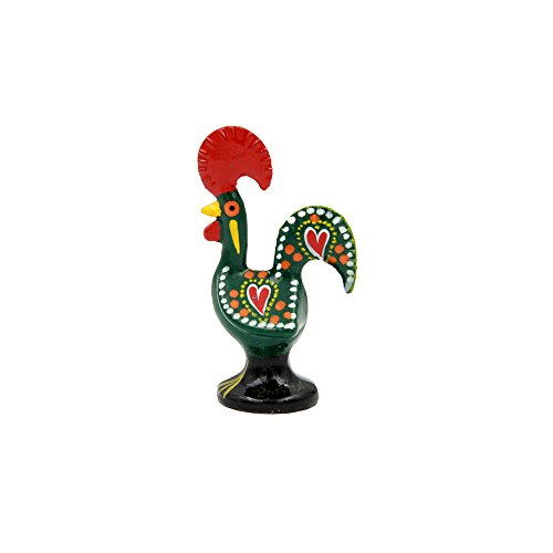 Ibergift Traditional Portuguese Aluminum Rooster Galo de Barcelos (2 1/2 Tall, Green)