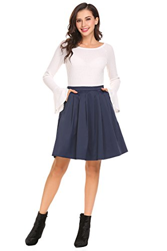 SHINE Women's High Waisted Pleated Knee Length Skirts With Pockets,Navy (Slant Pockets Skirt)