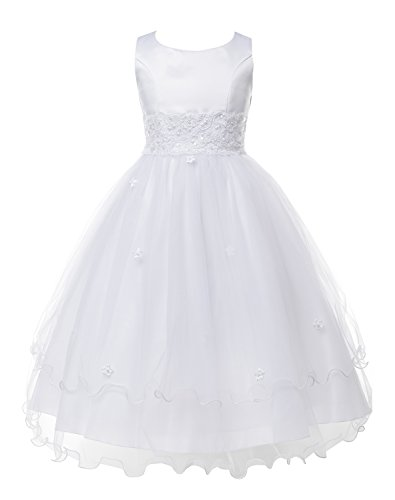 OLIVIA KOO Girls Graceful First Communion Dress (Size 2-16) White