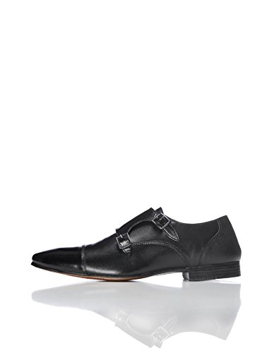 FIND Men's Allen Leather Double Monk Shoes, Black (Black), 10 UK