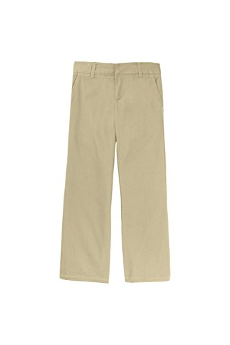 French Toast Little Girls' Adjustable Waist Flat Front Bootcut Pant, Khaki, 6 ()