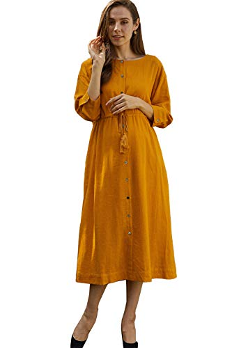 (Sweet Mommy Maternity and Nursing Cotton Linen Maxi Long Sleeve Dress, Camel M)