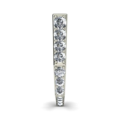18 K Or Blanc 0,35 CT TW Round-cut-diamond (IJ | SI) Boucles d'oreilles créoles
