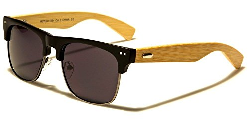 Matte Black Black Lens Classic Fashion Vintage Wooden Earpieces Women Men Designer - Den Dragons Sunglasses Wooden