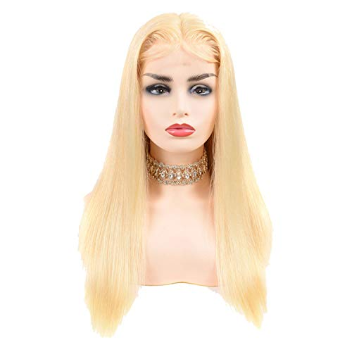 (Honey Blonde Lace Front Wig Human Hair 180% Density 13x4 Transparent Lace Brazilian Straight Lace Front Wig Remy,18inches,13x4 Frontal)