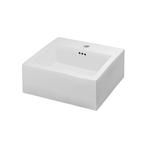 - RONBOW ESSENTIALS Mantle 18 Inch Square Ceramic Vessel Bathroom Sink in White 200271-WH