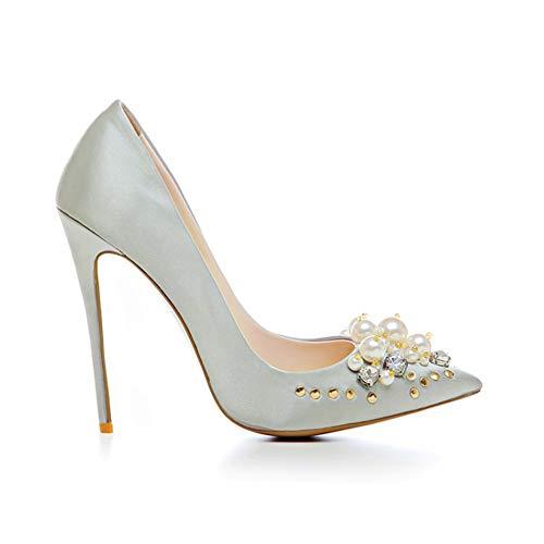 Satin Schlanker Frauen Heels Schuhe Pumpen Plattform High Heel Bördeln Einzelne Spitze 12Cm Niet Mode Alltagskleidung Absatzhöhe Wasserdichte High 0q4pH0
