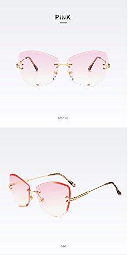 Oculos los Gradiente Femeninos vidrios Rosa de de Mujeres sin Claro rebordes Gato Poligonal Tonos de Transparente Pynxn Sunnies Color Irregular Sol Ojos de Gafas Gris de Color vpRBq