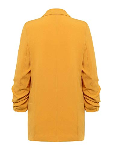 Blazer Moda Outwear A Elegante Giovane Mode Lunga Autunno Marca Monocromo Business Gelb Manica Di Donna Lungo Giacca Maglia Bavero t4wOrt