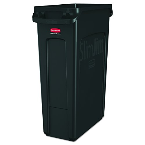Rectangular Black Container (Rubbermaid Commercial Slim Jim Receptacle with Venting Channels, Rectangular, Plastic, 23 Gallons, Black (FG354060BLA))
