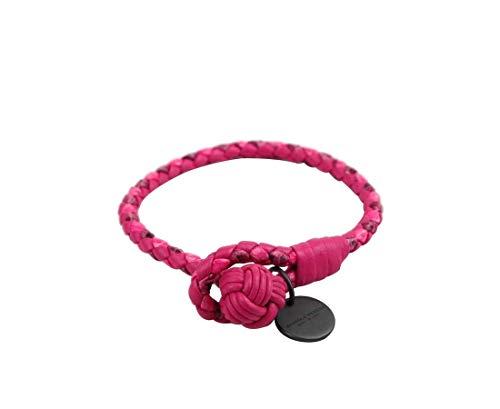Bottega Veneta Women's Pink Snake Leather Braided Bracelet 114095 5606