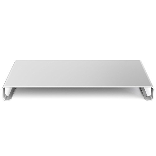 ENHAO Monitor StandRiser- Universal AluminiumErgonomic16''Wide PC Holder Support with Keyboard Storagefor PC Monitor, Laptop, iMac,MacBookand More (Silver) by ENHAO