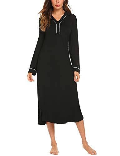 4ba4b8dba3 Ekouaer Nightgowns for Women Sleepshirt 3 4 Long Sleeves Nightshirts Full  Length Sleep Dress
