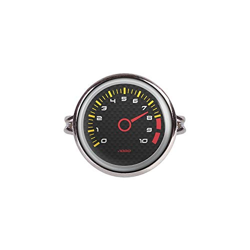 (Mylery Ring with Cabochon Picture Speed ??Meter Tachometer RPM Revolutions Instrument Display Carbon Silver 0.63 inch)