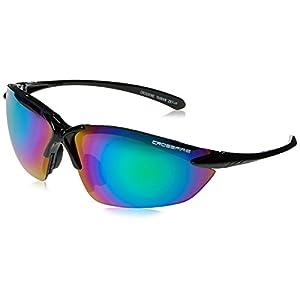 Crossfire 9610 Sniper Safety Glasses Emerald Mirror Lens - Shiny Black Frame