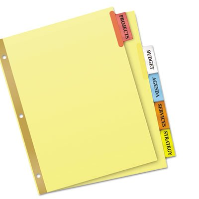 WorkSaver Big Tab Reinforced Dividers, Multicolor Tabs, 5-Tab, Ltr, Buff, 1/Set, Total 48 ST