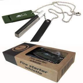 Survival Multi Tool Magnesium Fire Starter Kit Flint + Saw + Whistle + Army Necklace from Survive