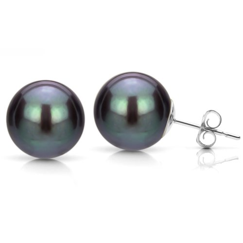 Black Freshwater Cultured Pearl Studs 14K White Gold Earrings Hypoallergenic 7-7.5mm ()