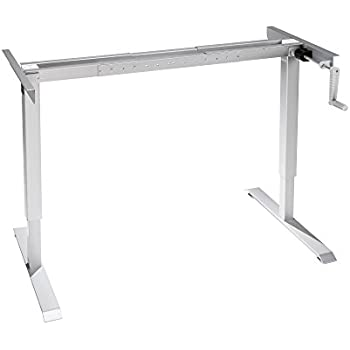 monoprice sit stand height adjustable desk frame workstation manual crank